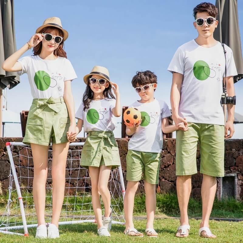 Áo gia đình 4 người màu xanh lá