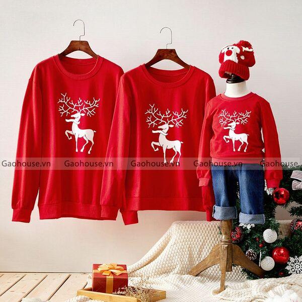áo gia đình mùa đông màu đỏ