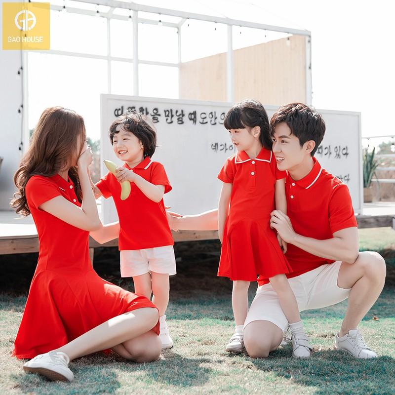 áo váy gia đình 4 người