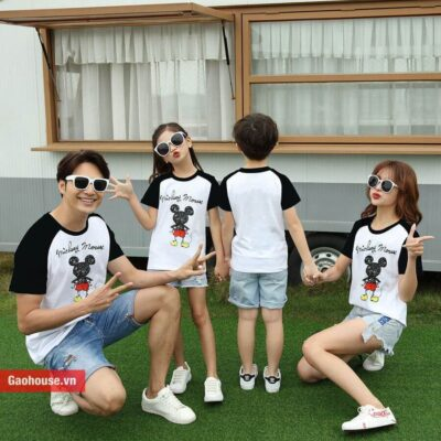 Áo gia đình 4 người chuột mickey phối đen - trắng