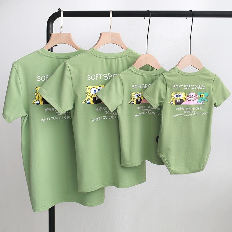 áo gia đình mùa hè cho 4 người màu xanh vỏ đậu