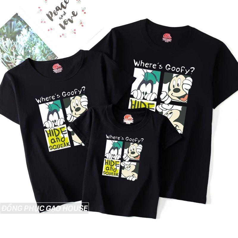 Mẫu áo phông gia đình 3 người in hình Chuột Mickey