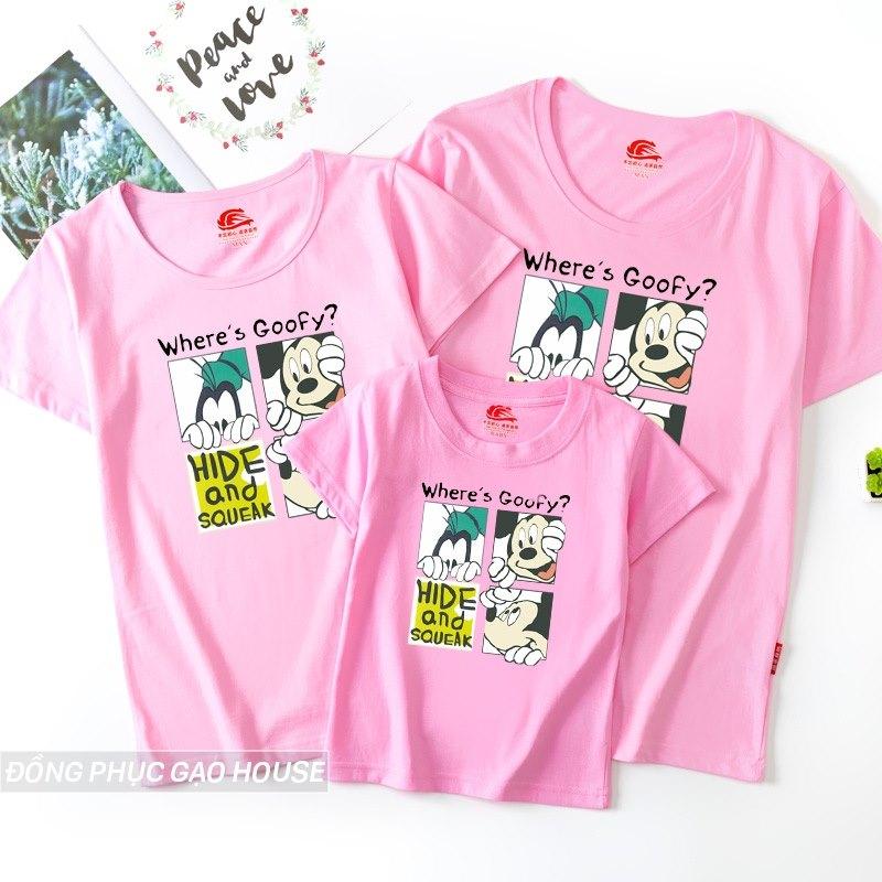 Mẫu áo gia đình màu hồng in hình chú chuột mickey đáng yêu