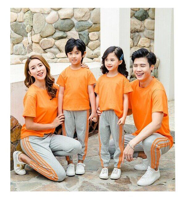 áo gia đình trơn màu cam