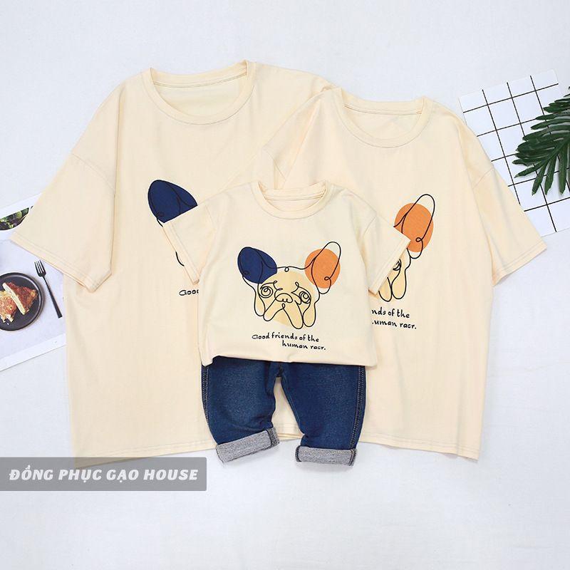 Set áo gia đình 3 người do Gạo House thiết kế và sản xuất