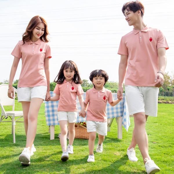áo gia đình cổ bẻ màu hồng phấn ngọt ngào