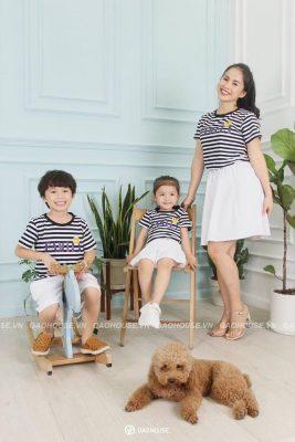 áo gia đình kẻ ngang đen - trắng