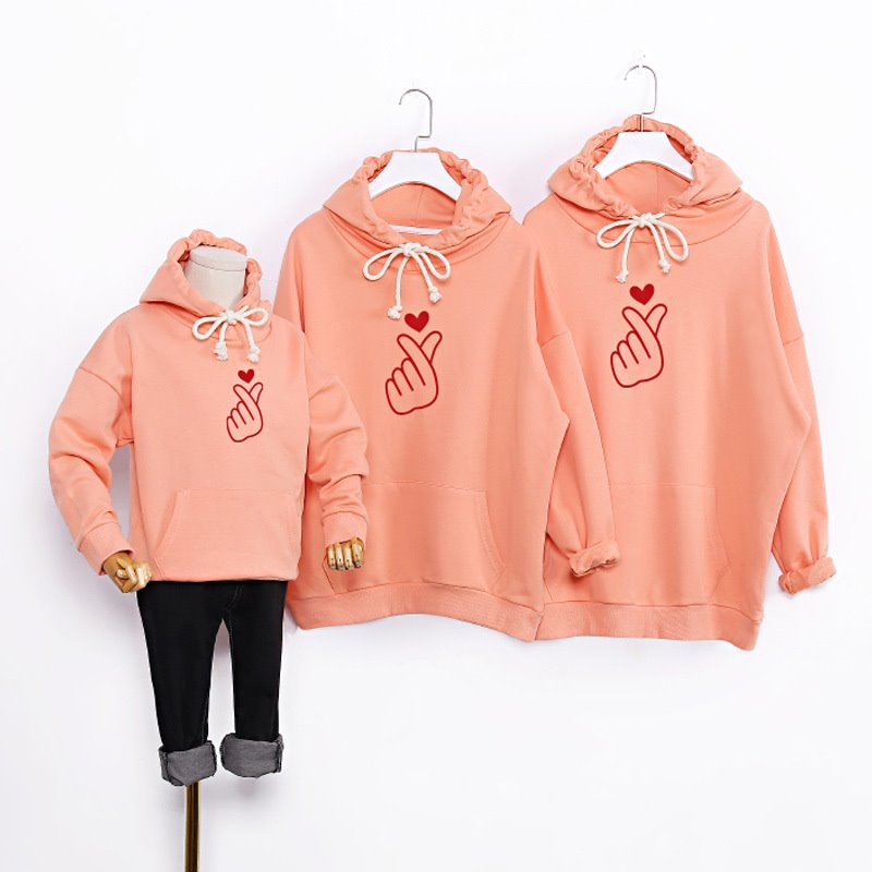 áo gia đình mùa đông màu hồng đào