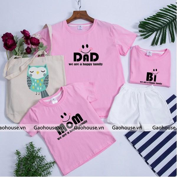 Set áo gia đình màu hồng phấn ngọt ngào