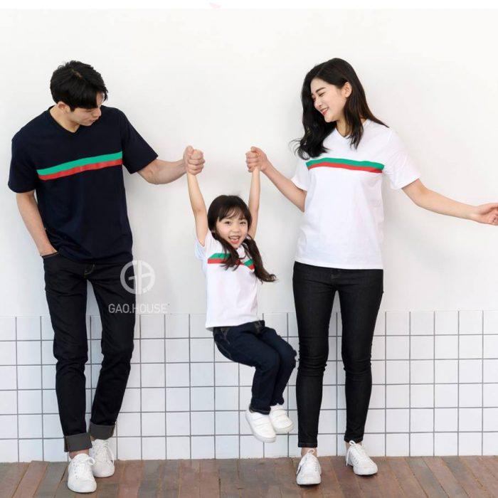1_áo thun gia đình kẻ sọc ngang