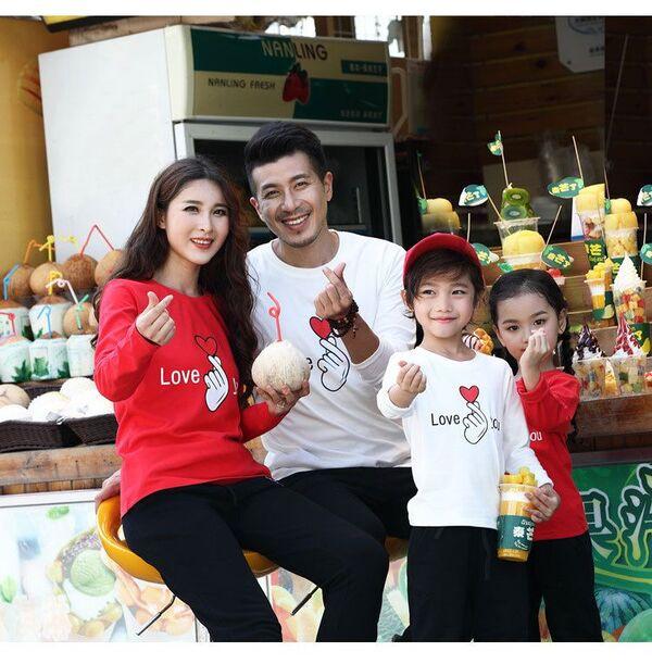 Áo gia đình mùa đông đỏ - trắng
