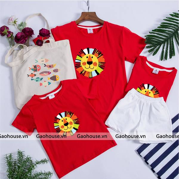 Áo gia đình mùa hè màu đỏ