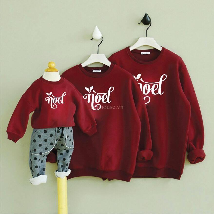 áo gia đình noel màu đỏ đô
