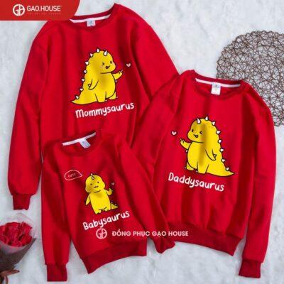 áo gia đình khủng long màu đỏ