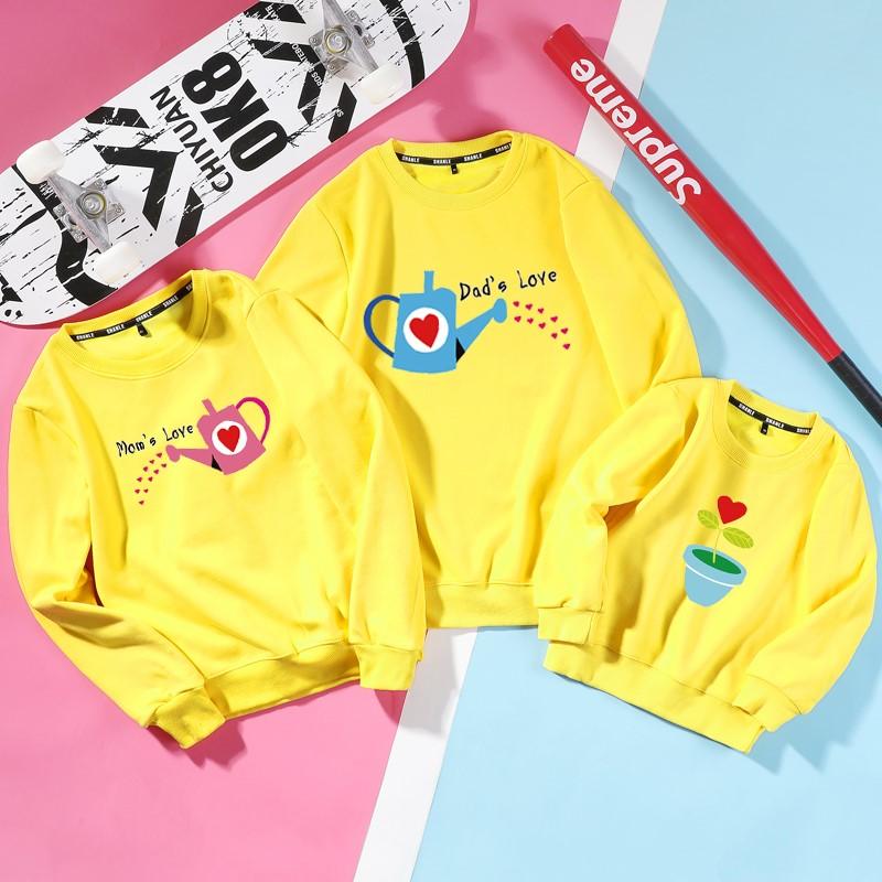 áo hoodie gia đình cao cấp mùa đông màu vàng