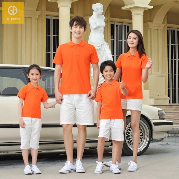Áo gia đình có cổ màu cam AGD0031