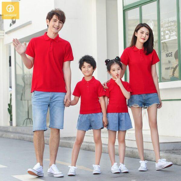 Áo gia đình có cổ màu đỏ AGD0028