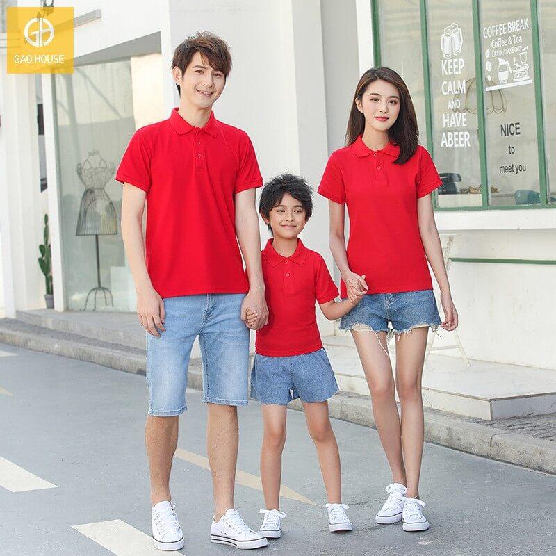 2_Áo gia đình cổ bẻ màu đỏ AGD0028
