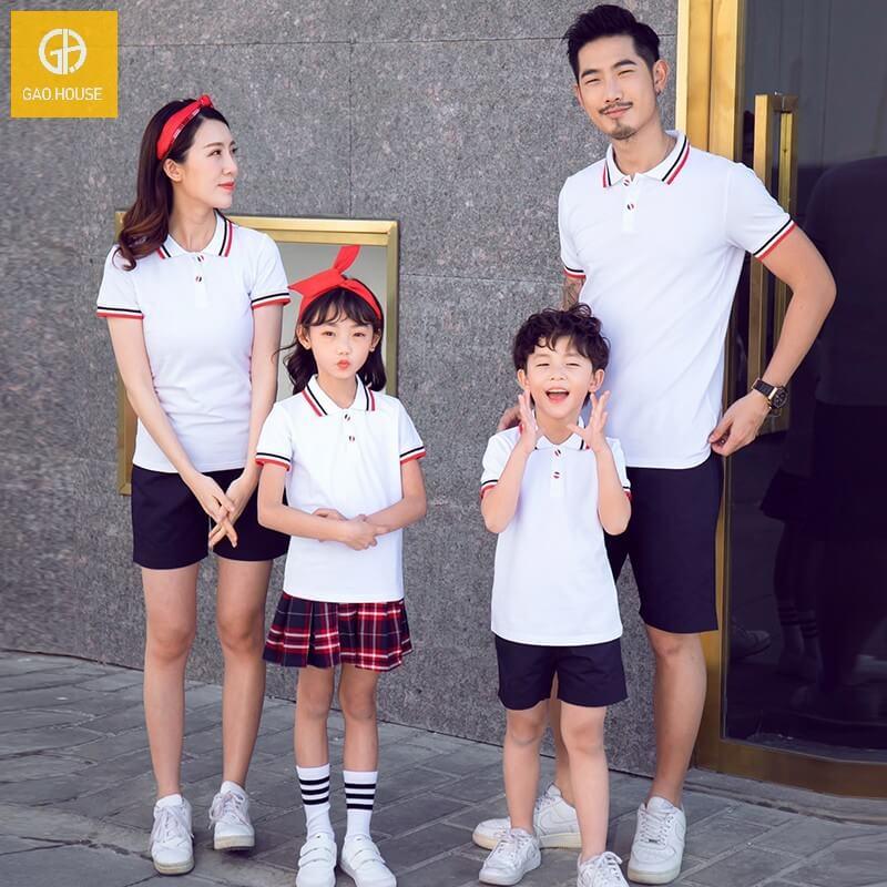 áo gia đình có cổ màu trắng 4 người