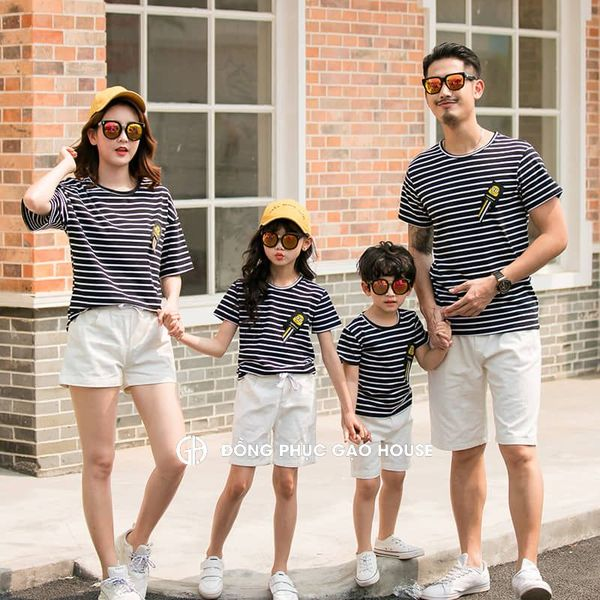Áo đồng phục gia đình mùa hè kẻ sọc ngang