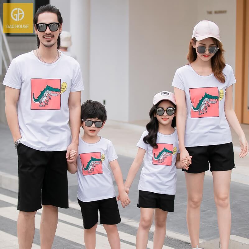 1_áo gia đình mùa hè hình khủng long AGD0009 màu trắng
