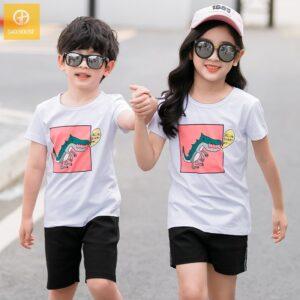 2_áo gia đình mùa hè hình khủng long AGD0009 màu trắng