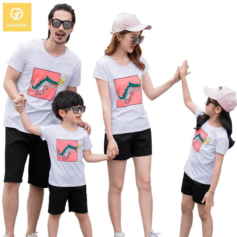 4_áo gia đình mùa hè hình khủng long AGD0009 màu trắng
