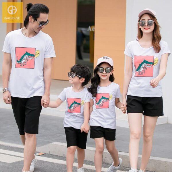 5_áo gia đình mùa hè hình khủng long AGD0009 màu trắng