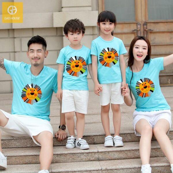 4_áo gia đình mùa hè hình sưu tử AGD0006