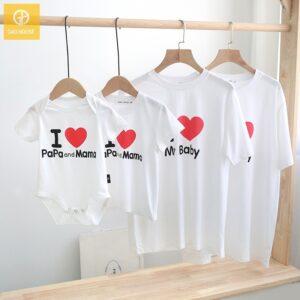 1_áo gia đình mùa hè i love papa mama baby AGD0015 màu trắng