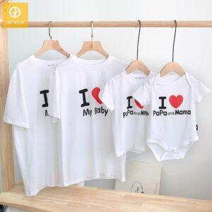 2_áo gia đình mùa hè i love papa mama baby AGD0015 màu trắng