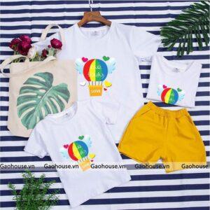 1_áo gia đình mùa hè khinh khí cầu AGD0005 màu trắng