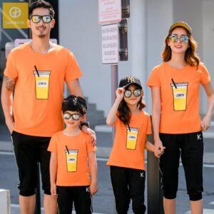 2_áo gia đình mùa hè lemon AGD0008 màu cam