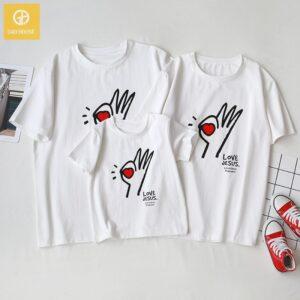 1_áo gia đình mùa hè love jesus AGD0021 màu trắng