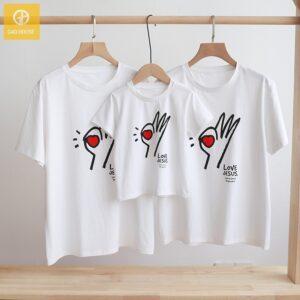 2_áo gia đình mùa hè love jesus AGD0021 màu trắng