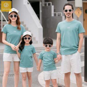 1_áo gia đình mùa hè màu xanh ve AGD0021