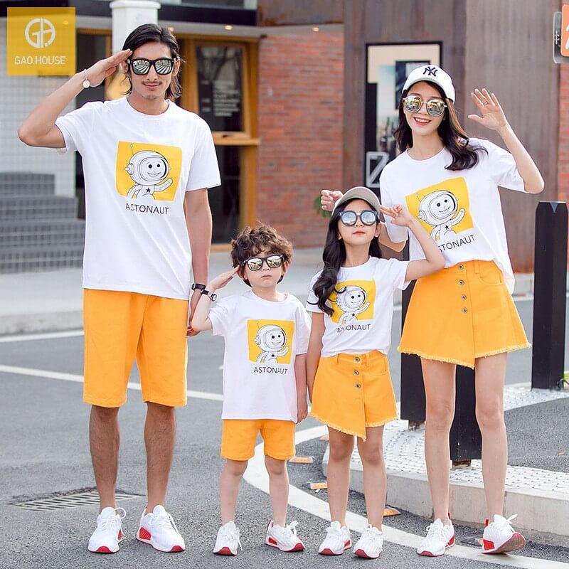 1_áo gia đình mùa hè phi hành gia AGD0017 màu trắng