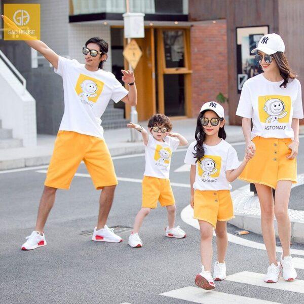 2_áo gia đình mùa hè phi hành gia AGD0017 màu trắng