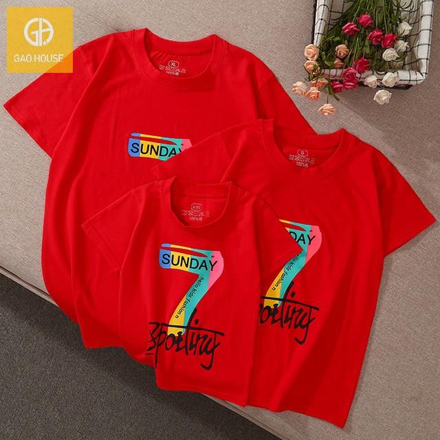 4_áo gia đình mùa hè seven sunday AGD0010 màu đỏ