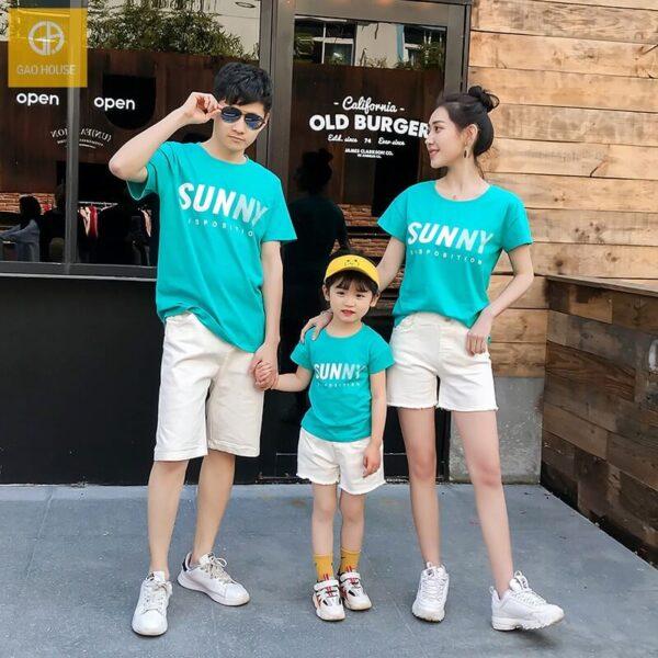 1_áo gia đình mùa hè sunny màu xanh