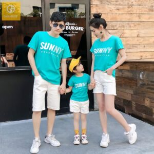 2_áo gia đình mùa hè sunny màu xanh