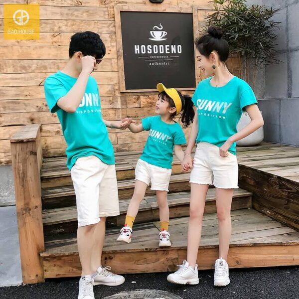 3_áo gia đình mùa hè sunny màu xanh