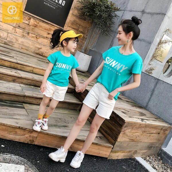 4_áo gia đình mùa hè sunny màu xanh
