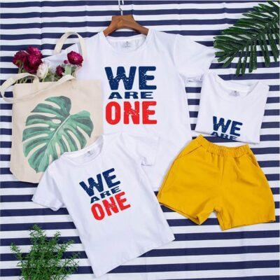 áo gia đình mùa hè we are one màu trắng