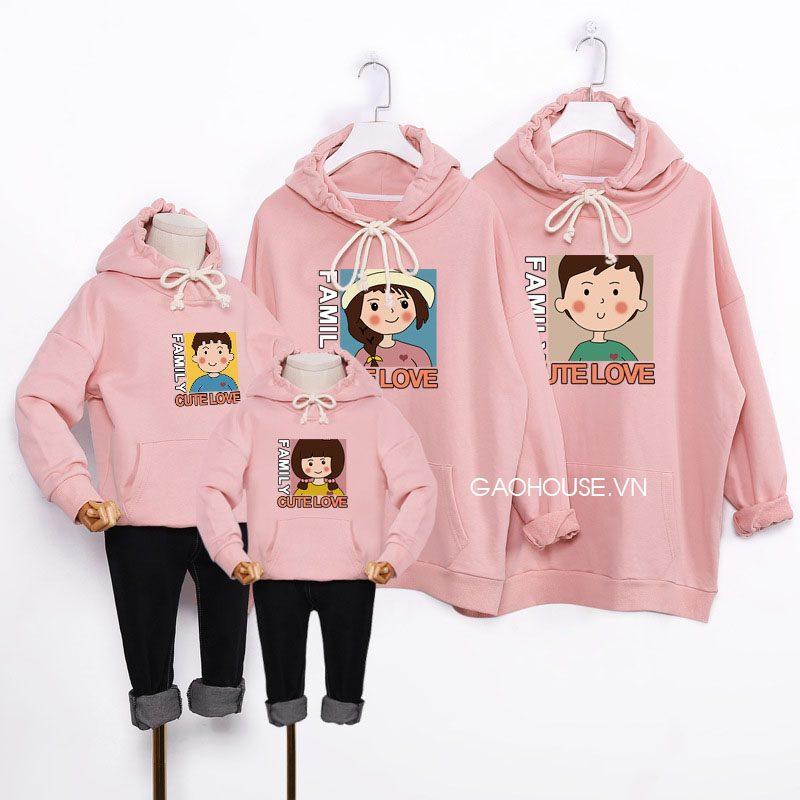 Áo hoodie đồng phục gia đình mùa đông cho 4 người
