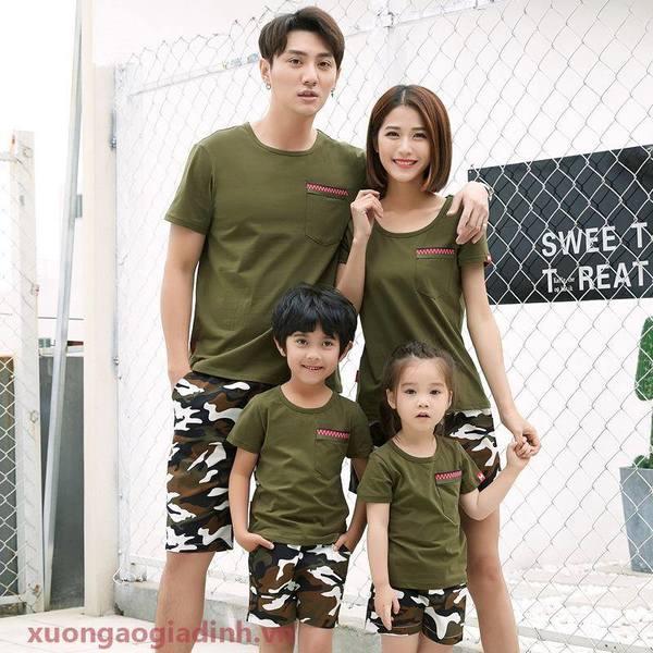 set áo gia đình mùa hè họa tiết dằn di