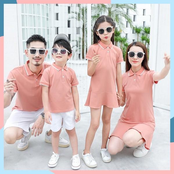 Áo váy gia đình cao cấp màu hồng