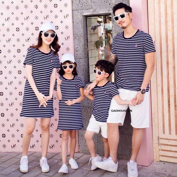 áo váy gia đình kẻ ngang