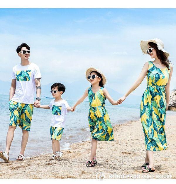 Áo váy gia đình đi biển maxi