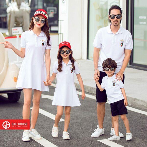 Áo váy đồng phục gia đình màu trắng kiểu đầm xòe